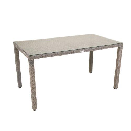 greemotion Tisch Manila grau bicolor, Gartentisch mit Glasplatte, gastronomiegeeignet, Balkontisch...