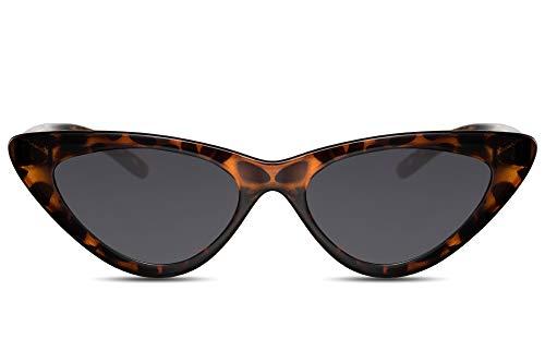 Cheapass Sonnenbrille Cat-Eye Schwarz Braun UV-400 Leo-Print Schmal-e Designer-Brille Katzenauge Plastik Damen