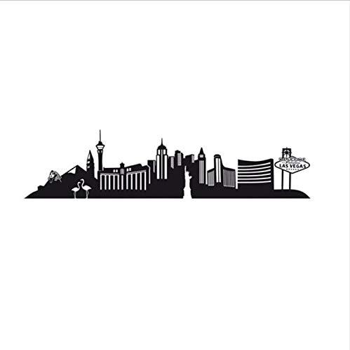 xmydeshoop Große Größe Las Vegas Wandtattoo Stadt Mural Livimg Zimmer Selbstklebend Aushöhlen wasserdichte Kunst Wohnkultur 59X244 cm