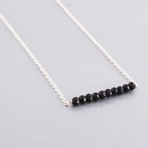 Anushruti zierliche schwarze Spinell Bar Halskette mit Sterling Silber Kette handgefertigte Layering Halskette 16