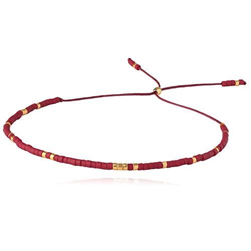 KELITCH Bunt Samen Perle Armbänder Gewebt Bohemien Seil Strang Armbänder Sehr Klein String Armreifen Zum Frau Mädchen (Rot 1G)