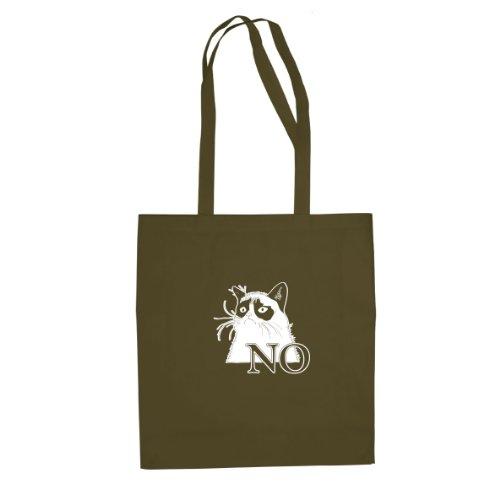 Grantige Katze - Stofftasche / Beutel Oliv