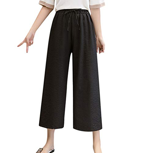 lazzo Pants Damen Capri Bettwäsche Baumwolle Solid Einfarbig Casual Loose Long High Waist Tie Riemchen Mode Crop Trousers (2XL,Schwarz) ()