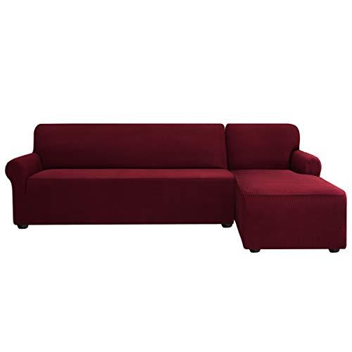 subrtex Sofabezug L Form Stretch Sofahusse Ecksofa Elastisch Antirutsch Eckcouch überwurf Weich Stoff Abwaschbar (Rechts 2 Sitzer, Weinrot)