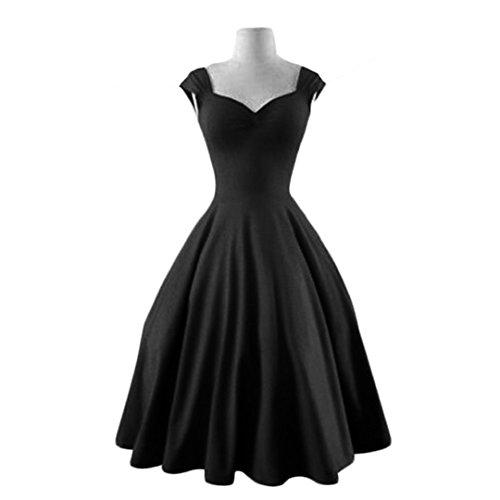 JOTHIN Le Style Hepburn Rétro Jupe Couleur Unie Sans Manches de Robe tutu Hepburn Style Rétro et Mettre Une Jupe Sans Manches Robe tutu Noir
