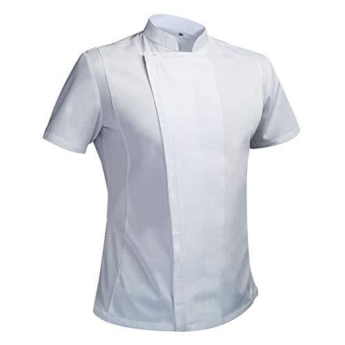 Sommerkoch Kostüm Kochjacke männlichen Kochs weißes Hemd Restaurant Uniform Friseur Workwear Overalls,XXXL (Beste Männliche Kostüme)