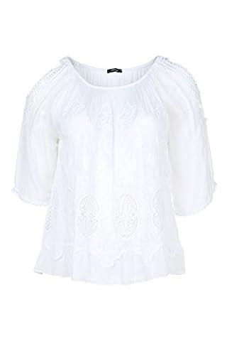 Paprika Damen große Größen Bluse aus besticktem Mischgewebe: Seide und Viskose weiß 4 (50)