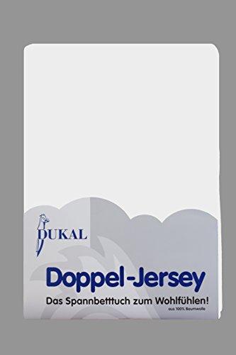 DUKAL, Spannbettlaken für Split Topper, 180x200 cm, aus hochwertigem DOPPEL-JERSEY (100% Baumwolle), Farbe: weiss -