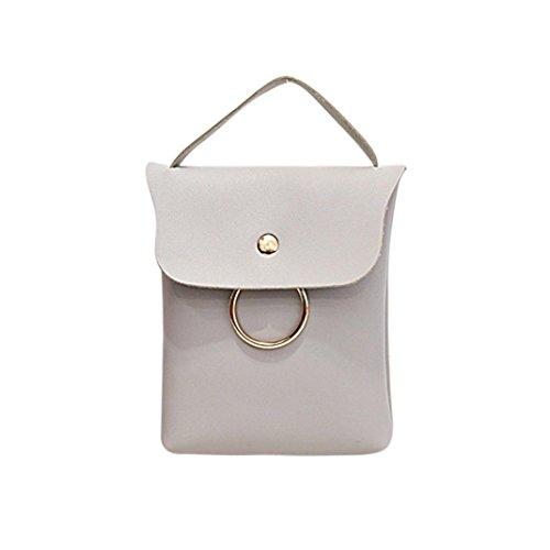 BZLine® Frauen Leder Handtasche Cross Body Shoulder Messenger Handytasche Grau