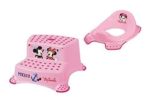 2er Set Z Disney Minni Maus WC Aufsatz + Hocker zweistufig Toilettentrainer