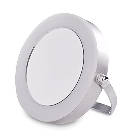 Small Modern Compact, Portable And Adjustable Silver Chrome Battery Operated Magnifying LED Make Up Cosmetic Shaving Vanity Mirror Light by MiniSun