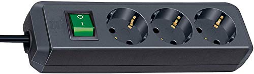 Brennenstuhl Eco-Line 3-fach Steckdosenleiste (Steckerleiste mit Kindersicherung, Schalter und 1,5 m Kabel) schwarz