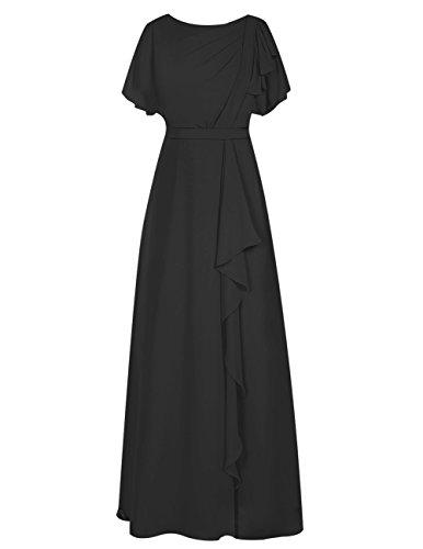 Dresstells Damen Bodenlang Chiffon Abendkleid Brautjungfer Kleider mit Ämel Ballkleid Schwarz