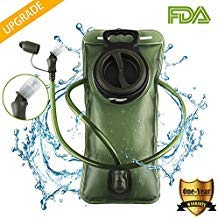 Cycorld Trinkblase, GEKRÜMMTES Mundstück Trinkwasserblase, 2 Liter auslaufsicherer Wasserbehälter für Wanderungen Laufrucksack, 9,9 cm große Öffnung, BPA frei (Grün)