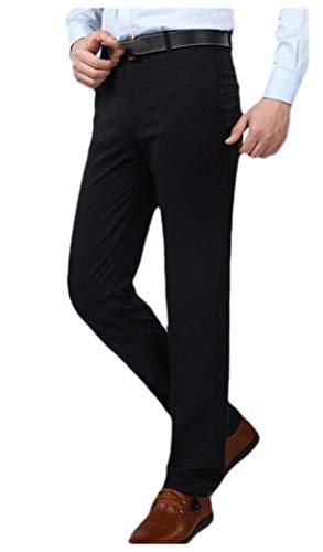 VITryst Men Basic Style Expandable-Waist Pleat-Front No Iron Plain-Front Pant Navy Blue 33 -
