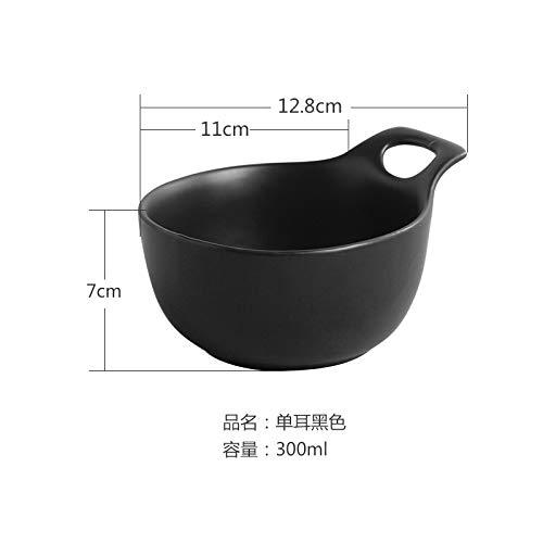 rn Dish Single Ear Teller Pasta japanischen Stil Teller flachen Mund Platte Salat Ins Geschirr 9 Zoll schwarz ()