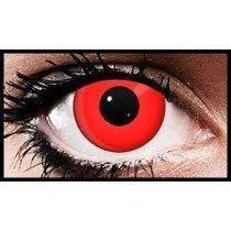 Verrückte Kontaktlinsen Kosmetik { 1 Tag }{ Red Devil } Care Guide für Halloween Augen Übungs Set (Devil Red Halloween Makeup)