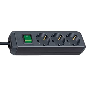Brennenstuhl Eco-Line 3-fach Steckdosenleiste (Steckerleiste mit Kindersicherung, Schalter und 5 m Kabel) schwarz
