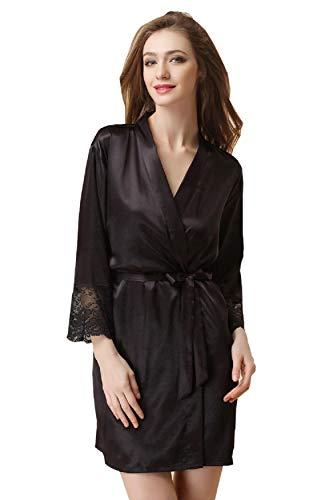 Damen Morgenmantel Kimono Bademantel Satin Nachthemd Nachtwäsche Schlafanzüge mit Blumenspitze Schwarz M -