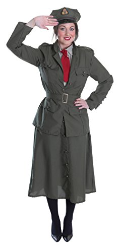 Bristol Novelty ac712 2. Weltkrieg Army Officer Lady Kostüm (UK (Weltkrieg Kostüme Fancy 2 Dress)