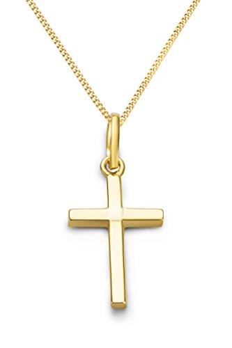 Miore Kette - Halskette Damen Gelbgold 9 Karat / 375 Gold Kette mit Kreuz 45 cm