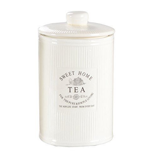 DRULINE Vorratsdose Kaffeedose Teedose Zuckerdose Shabby Creme Weiß Keramik SWEET HOME (Tea)