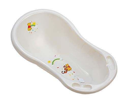 Baby Badewanne 84 cm mit Stöpsel Disney Winnie Pooh perl weiß Babywanne