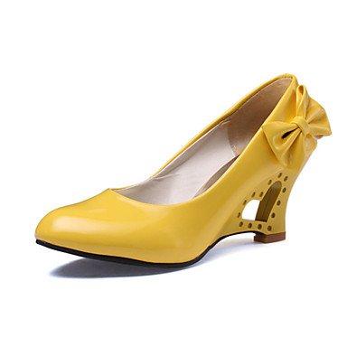 CH&TOU Da donnaMatrimonio / Ufficio e lavoro / Formale / Serata e festa-Tacchi-Zeppa-Finta pelle-Nero / Giallo / Rosso / Bianco yellow