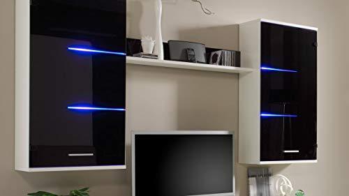 Wohnwand Anbauwand Schrankwand BEN, weiß mit schwarzen Glasfronten, inklusive LED-Beleuchtung - 2
