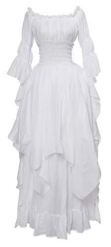 Nuoqi Viktorianisches Nachthemd Gothic Kleidung Damen Mittelalterliches Renaissance Kostüm XXL/3XL