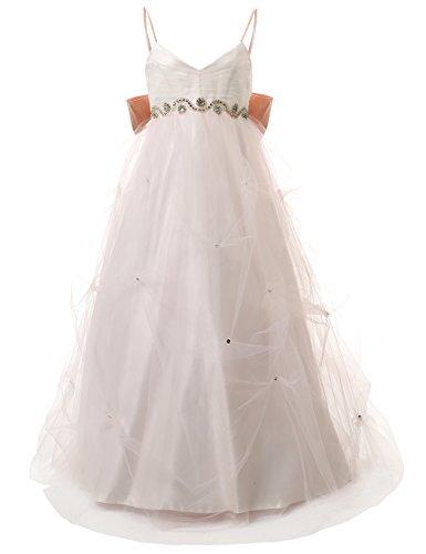 Dresstells,Robe de fille Robe fillette de cérémonie/demoiselle d'honneur/baptême forme princesse nœud à boucles au dos Blanc