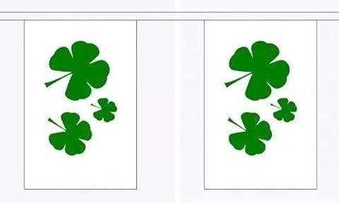 9 mètres 30 x 6 cm (23) Drapeau irlandais Trèfle - 100% Polyester-Décoration de fête Fanions, idéal pour les bars et Clubs de rue pour maison, les Écoles Saint Patrick