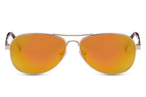 Cheapass Flieger-Sonnenbrille Gold-en Verspiegelt UV-400 Flieger-Brille Pilot-en Fliegen Metall-Rahmen Damen Herren