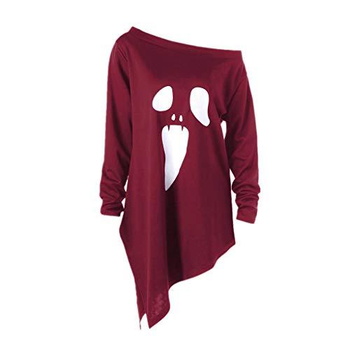 Damen Halloween Kostüm,Geili Frauen Halloween Langarm Geist Print Sweatshirt Pullover Tops Damen Lose Casual Asymmetrische Bluse T Shirt - Koreanisches Kostüm Frauen