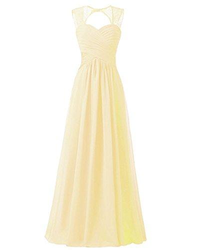 Beonddress Damen Chiffon Brautjungfernkleider Ballkleid Abendkleider lang Hochzeitskleid Cocktail Party(Champagner,50) Brautjungfernkleider Pastell