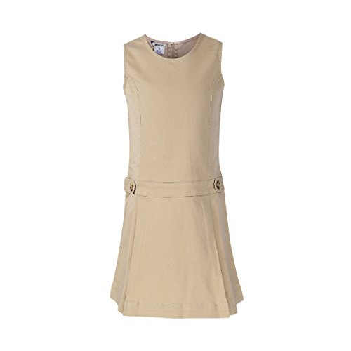 Bienzoe Mädchen Baumwoll Dehnbar Köper Schuluniformen Jumper Kleid Khaki Größe 16 (Mädchen A-linie-jumper)
