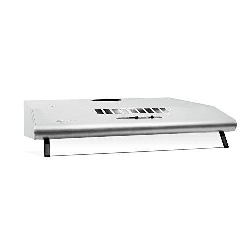 Klarstein UW60SR cappa d'aspirazione da cucina montaggio a parete (60cm, 190 m³/h, 3 livelli, 2 filtri in alluminio, illumunazione, acciaio inox spazzolato, classe D) - grigio