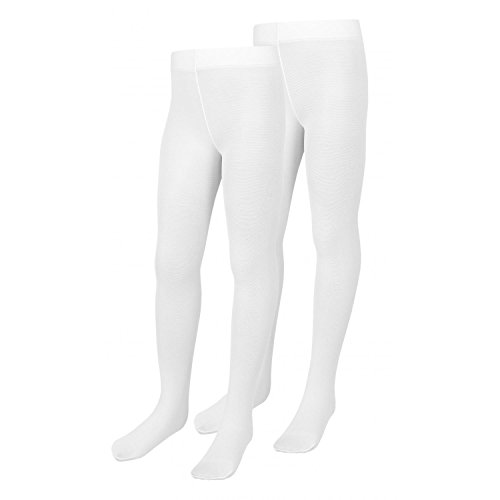 TupTam Mädchen Strumpfhosen Semi-Transparent 40 DEN 2er Pack, Farbe: Weiß, Größe: 116-122