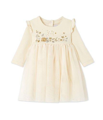 Petit Bateau Baby-Mädchen Kleid Robe ml, Elfenbein (Coquille 52), 92 (Herstellergröße: 24m/86cm) (Bestickte Mädchen-kleid)