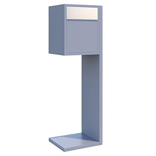 Standbriefkasten, Design Briefkasten Hermes Grau Metallic/Edelstahl - Bravios