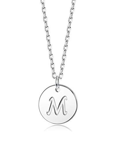 Sllaiss Halskette mit Buchstaben in Silber Runder Initialen-Halskette aus 925 Silber mit Gravur Prägung Alphabet-Halskette