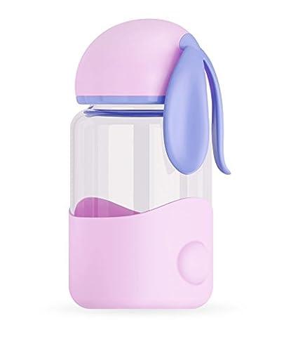 Lapin en verre Bouteille d'eau, 300ml ABS Silicone Alimentaire haute Boronsilicon Verre Bouteille de boisson