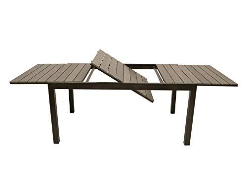 DEGAMO Ausziehtisch BARI 160/240x100cm, Gestell Aluminium Graubraun, Tischplatte Polywood grau, wetterfest