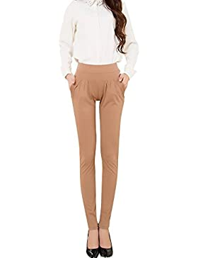 DianShao Collection Mujer Pantalones Clásicos Ajustados Pantalones Básicos Caqui L