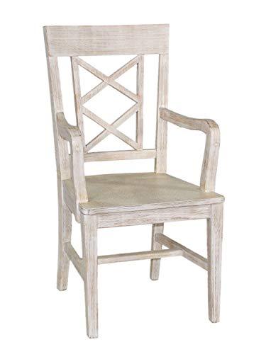 casamia Esszimmer Stuhl mit Armlehnen Chalet mit Holzsitz Pinie massiv lipizano Farbe Pinie lipizano