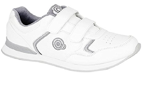 DEK Damen SKIPPER Damen Klettband Bowlingschuhe/Turnschuhe weiß/Grau (Bianco/Grigio)