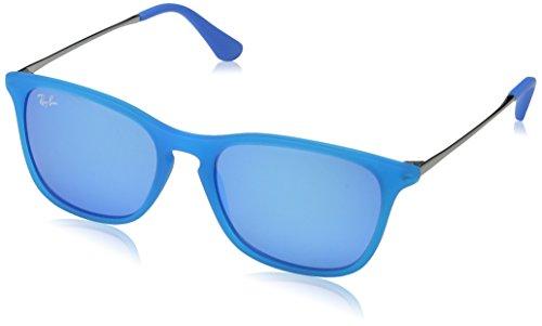 Ray-Ban Unisex Sonnenbrille Chris Junior, (Gestell: hellblau, Gunmetal Glas: blau verspiegelt 701155), Small (Herstellergröße: 49)
