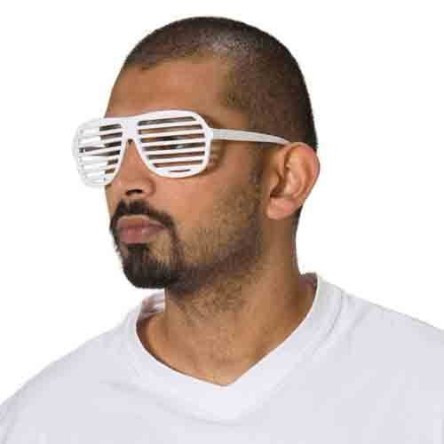 Jalousie Sonnenbrille Brille Jalousiebrille Gitter weiß