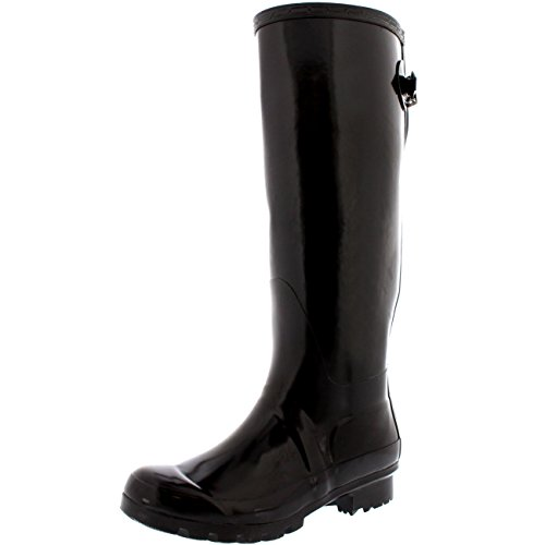 Womens Adjustable Back Tall Gloss Winter Snow Rain Wellies Wellington Boots