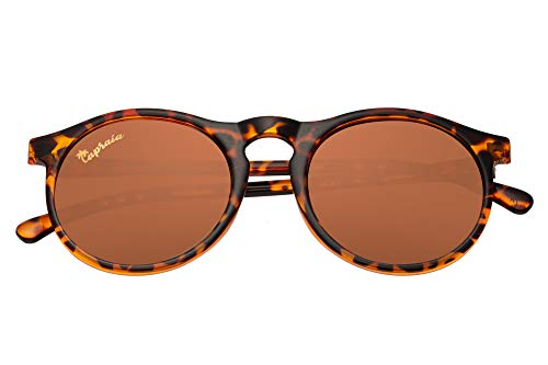 Capraia Arilla Classic Round Vintage Sunglasses Ultra Light High Quality TR90 Shiny Leopard Frame and Brown Polarised Lenses UV400 protected Mens Womens